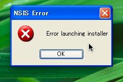 NSIS Errorのウィンドウ