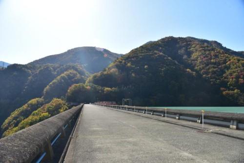 ダム堤体の上
